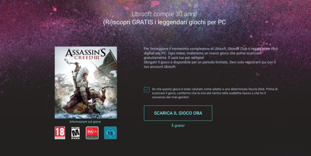 Disponibile per il download Assassin's Creed III per PC gratis
