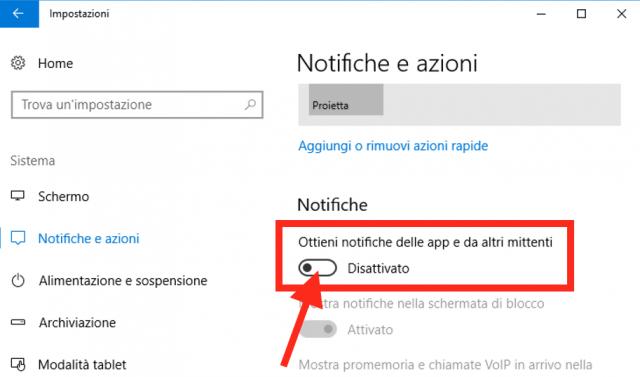 disattivare tutte le notifiche in Windows 10