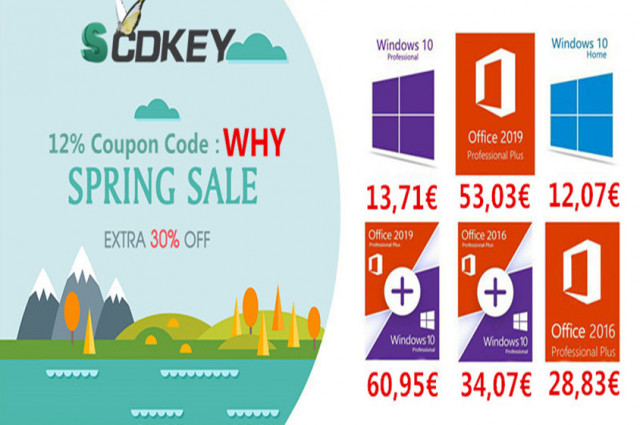 Spring Sale Scdkey: Windows 10 Pro a 12€ e Office 2016 a 28€