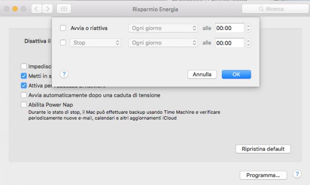Mac OS X, programmare un orario di accensione o spegnimento