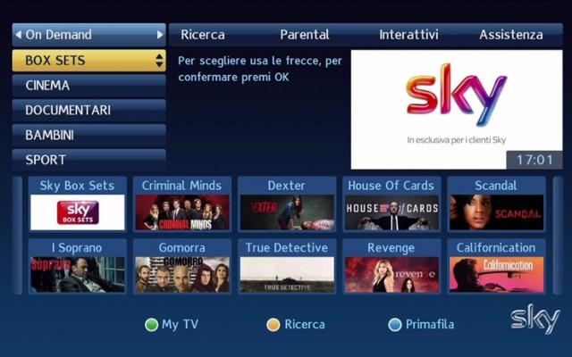 Sky Box Sets, il nuovo servizio On Demand di Sky