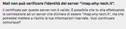 Mail (Mac OS X El Capitan), impossibile verificare l'identità del server
