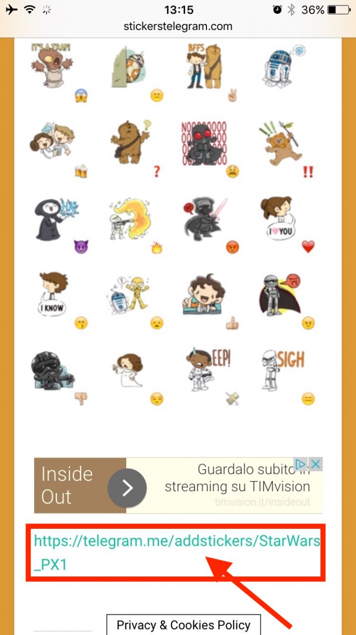 stickers su telegram