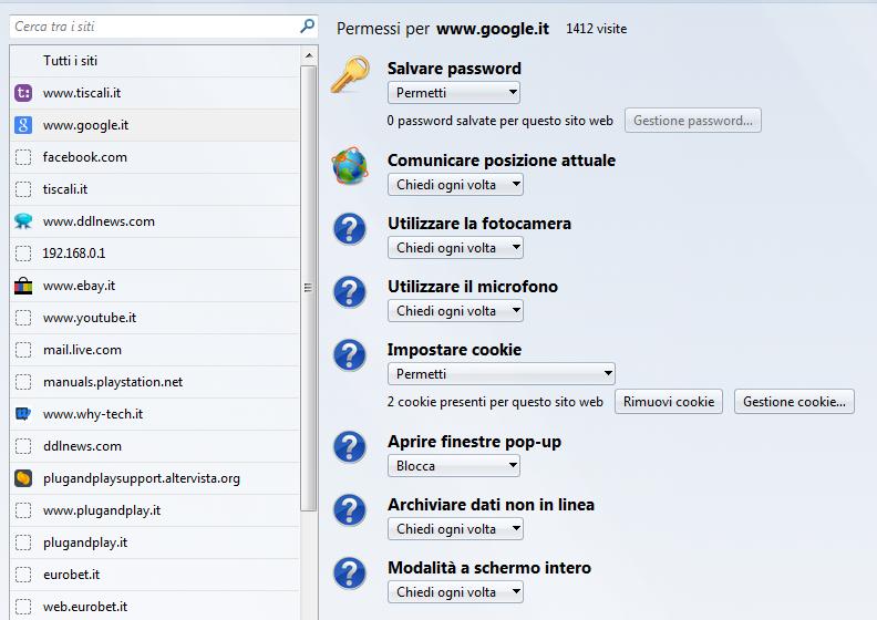 Gestire le autorizzazioni dei siti con about permission di mozilla firefox blog di - Bloccare finestre pop up ...